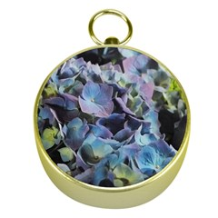 Blue and Purple Hydrangea Group Gold Compass