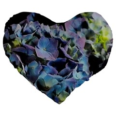 Blue and Purple Hydrangea Group 19  Premium Flano Heart Shape Cushion