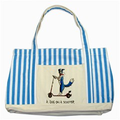 A Dog On A Scooter Blue Striped Tote Bag