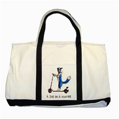 A Dog On A Scooter Two Toned Tote Bag