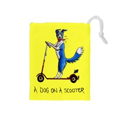 A Dog On A Scooter Drawstring Pouch (medium)