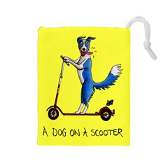 A Dog On A Scooter Drawstring Pouch (large)