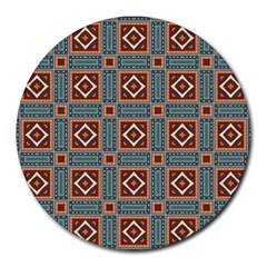 Squares Rectangles And Other Shapes Pattern Round Mousepad
