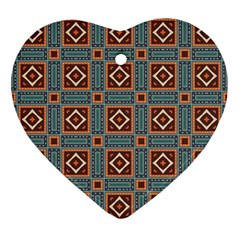 Squares Rectangles And Other Shapes Pattern Ornament (heart)