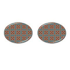 Squares Rectangles And Other Shapes Pattern Cufflinks (oval)