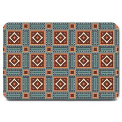 Squares rectangles and other shapes pattern Large Doormat