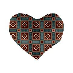 Squares Rectangles And Other Shapes Pattern 16  Premium Heart Shape Cushion