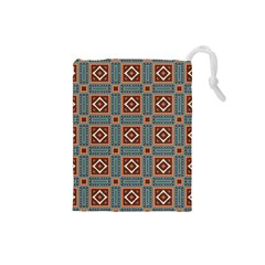 Squares rectangles and other shapes pattern Drawstring Pouch (Small)