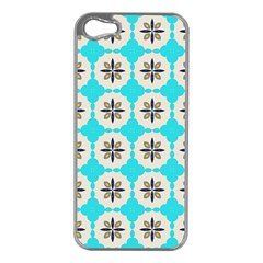 Floral Pattern On A Blue Background Apple Iphone 5 Case (silver)
