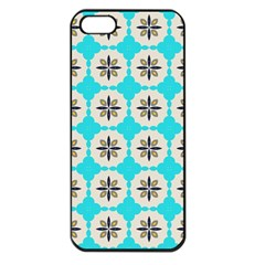 Floral Pattern On A Blue Background Apple Iphone 5 Seamless Case (black)