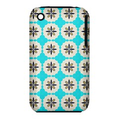Floral pattern on a blue background Apple iPhone 3G/3GS Hardshell Case (PC+Silicone)