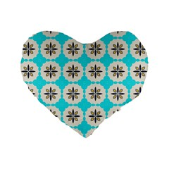 Floral Pattern On A Blue Background 16  Premium Heart Shape Cushion