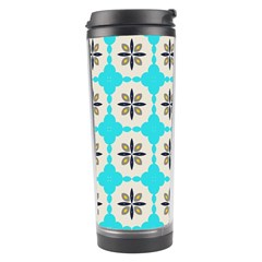 Floral pattern on a blue background Travel Tumbler