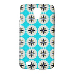 Floral Pattern On A Blue Background Samsung Galaxy S4 Active (i9295) Hardshell Case