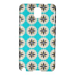 Floral Pattern On A Blue Background Samsung Galaxy Note 3 N9005 Hardshell Case