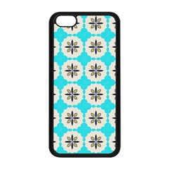 Floral pattern on a blue background Apple iPhone 5C Seamless Case (Black)