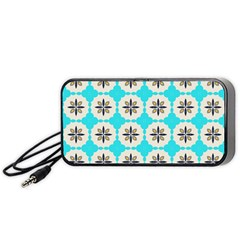 Floral pattern on a blue background Portable Speaker (Black)