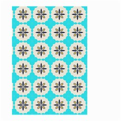 Floral Pattern On A Blue Background Small Garden Flag (two Sides)