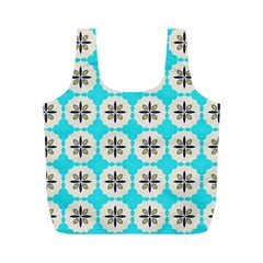 Floral Pattern On A Blue Background Full Print Recycle Bag (m)