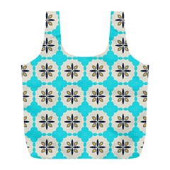 Floral pattern on a blue background Full Print Recycle Bag (L)