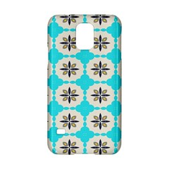 Floral pattern on a blue background Samsung Galaxy S5 Hardshell Case