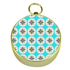 Floral pattern on a blue background Gold Compass