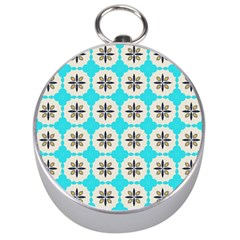 Floral pattern on a blue background Silver Compass