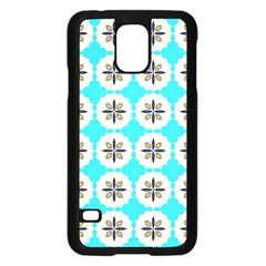Floral pattern on a blue background Samsung Galaxy S5 Case (Black)