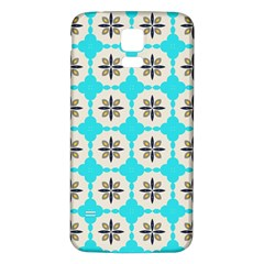 Floral pattern on a blue background Samsung Galaxy S5 Back Case (White)