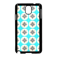 Floral Pattern On A Blue Background Samsung Galaxy Note 3 Neo Hardshell Case (black)