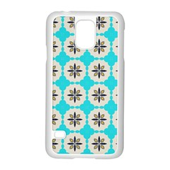 Floral Pattern On A Blue Background Samsung Galaxy S5 Case (white)