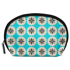 Floral pattern on a blue background Accessory Pouch (Large)