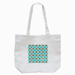 Floral pattern on a blue background Tote Bag (White)