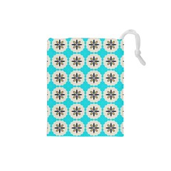 Floral Pattern On A Blue Background Drawstring Pouch (small)