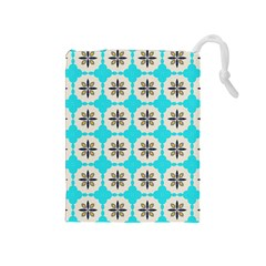 Floral Pattern On A Blue Background Drawstring Pouch (medium)