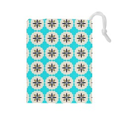 Floral Pattern On A Blue Background Drawstring Pouch (large)