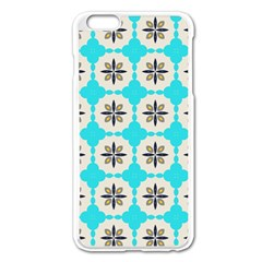 Floral pattern on a blue background Apple iPhone 6 Plus Enamel White Case