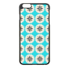 Floral pattern on a blue background Apple iPhone 6 Plus Black Enamel Case