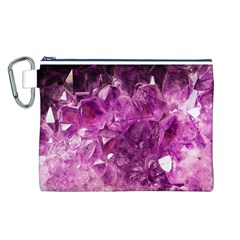 Amethyst Stone Of Healing Canvas Cosmetic Bag (Large)