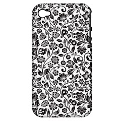 Elegant Glittery Floral Apple Iphone 4/4s Hardshell Case (pc+silicone)