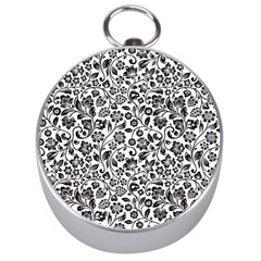 Elegant Glittery Floral Silver Compass