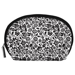 Elegant Glittery Floral Accessory Pouch (large)