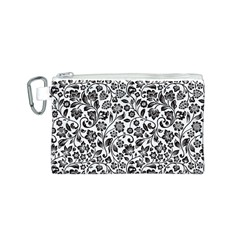 Elegant Glittery Floral Canvas Cosmetic Bag (Small)