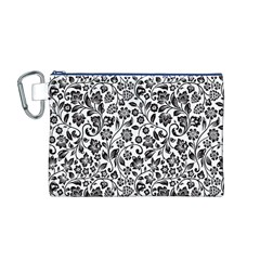 Elegant Glittery Floral Canvas Cosmetic Bag (Medium)