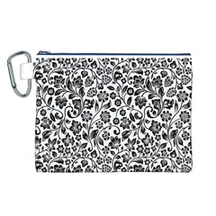 Elegant Glittery Floral Canvas Cosmetic Bag (Large)