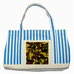 Camo Pattern  Blue Striped Tote Bag
