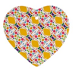 Dots And Rhombus Heart Ornament (two Sides)