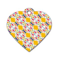 Dots And Rhombus Dog Tag Heart (one Side)