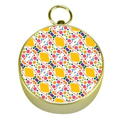 Dots And Rhombus Gold Compass