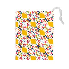 Dots and rhombus Drawstring Pouch (Large)